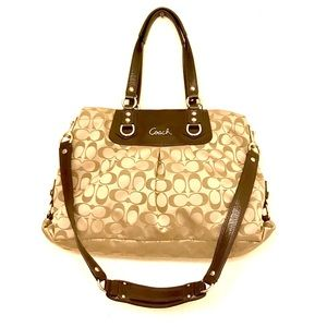 Coach Monogram Sateen Satchel Leather Bag